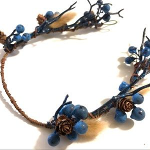 Blue Branch Forest Crown Twigs Pinecone Tiara